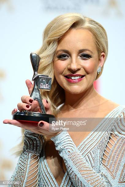 Carrie Bickmore poses in the awards room after winning a Silver Logie for Most Popular Presenter at the 57th Annual Logie Awards at Crown Palladium...