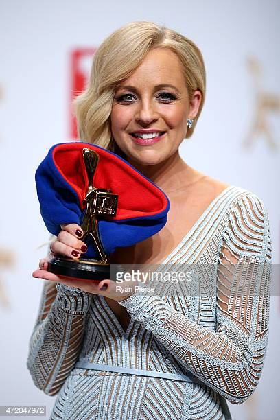 Carrie Bickmore poses in the awards room after winning the Gold Logie for Most Popular Personality On TV at the 57th Annual Logie Awards at Crown...