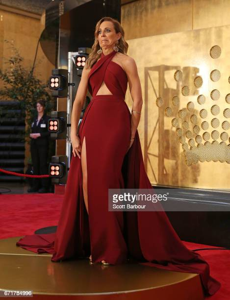 Carrie Bickmore stumbles as she arrives at the 59th Annual Logie Awards at Crown Palladium on April 23 2017 in Melbourne Australia