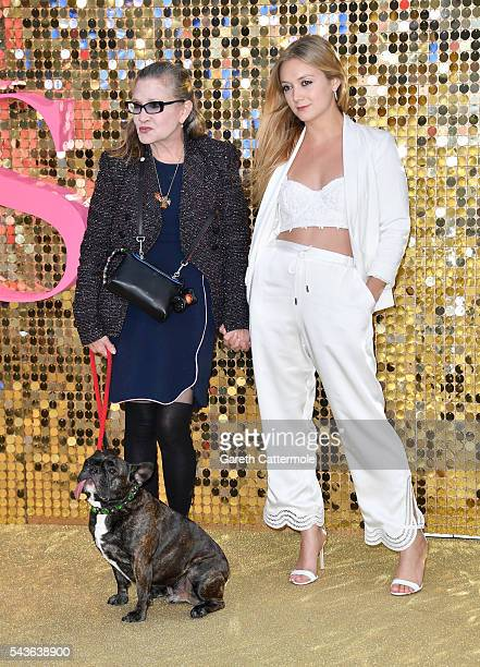 Carrie Fisher and Billie Catherine Lourd attend the 'Absolutely Fabulous The Movie' World Premiere at the Odeon Leicester Square on June 29 2016 in...