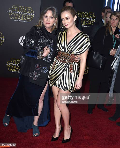 Carrie Fisher and Billie Lourd arrives at the Premiere Of Walt Disney Pictures And Lucasfilm's 'Star Wars The Force Awakens' on December 14 2015 in...