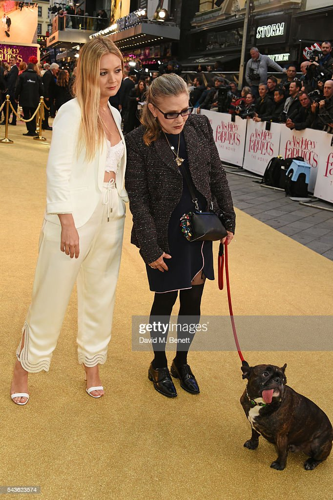 Carrie Fisher (C) and daughter Billie Catherine Lourd attend the World Premiere of 'Absolutely Fabulous: The Movie' at Odeon Leicester Square on June 29, 2016 in London, England.