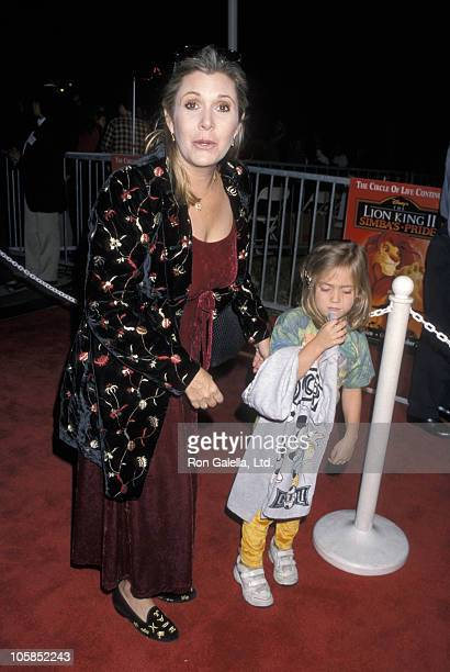 Carrie Fisher and daughter Billie Fisher Lourd during Premiere of 'Lion King II Simba's Pride' at Wadsworth Theater in Westwood California United...
