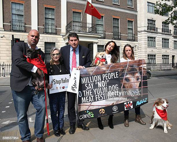 Carrie Fisher and Lucy Watson attend a photocall as campaigners submit an 11 million signature petition calling for an end to China's Yulin dog meat...