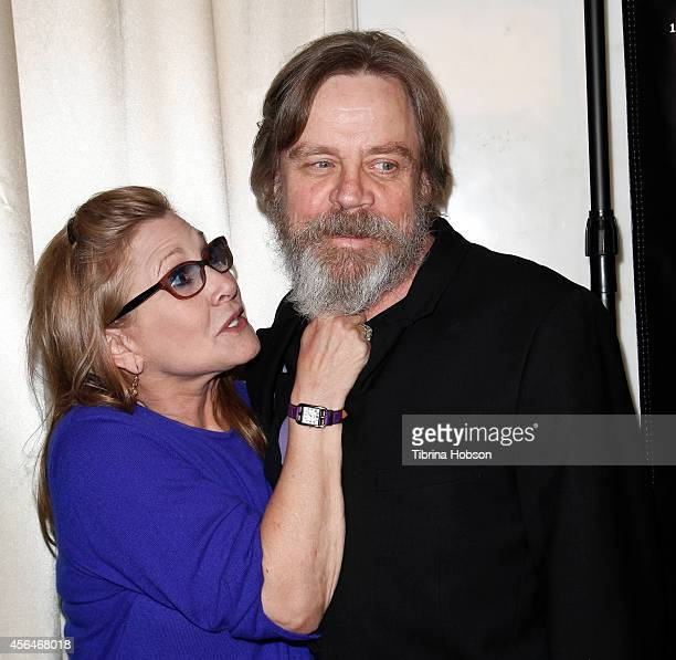 Carrie Fisher and Mark Hamill attend the Midnight Mission Golden Heart awards gala at the Beverly Wilshire Hotel on September 30 2014 in Beverly...
