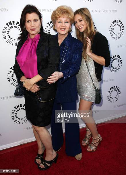 Carrie Fisher Debbie Reynolds and Billie Lourd attend Paley Center TCM present Debbie Reynolds' Hollywood memorabilia exhibit reception at The Paley...