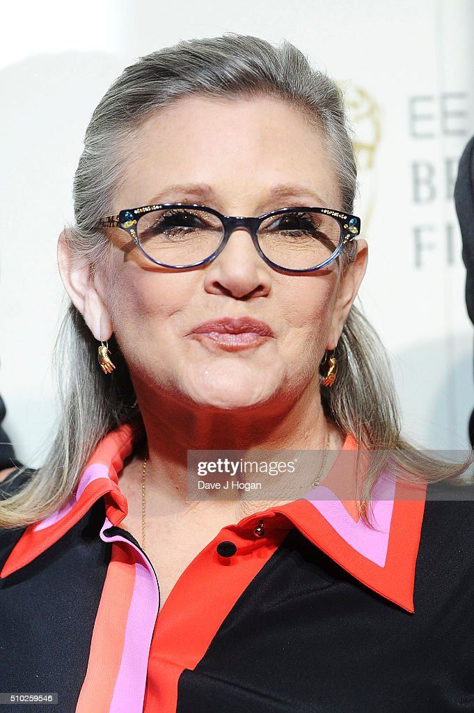 <a gi-track='captionPersonalityLinkClicked' href=/galleries/search?phrase=Carrie+Fisher&family=editorial&specificpeople=209183 ng-click='$event.stopPropagation()'>Carrie Fisher</a> poses in the winners room at the EE British Academy Film Awards at The Royal Opera House on February 14, 2016 in London, England.