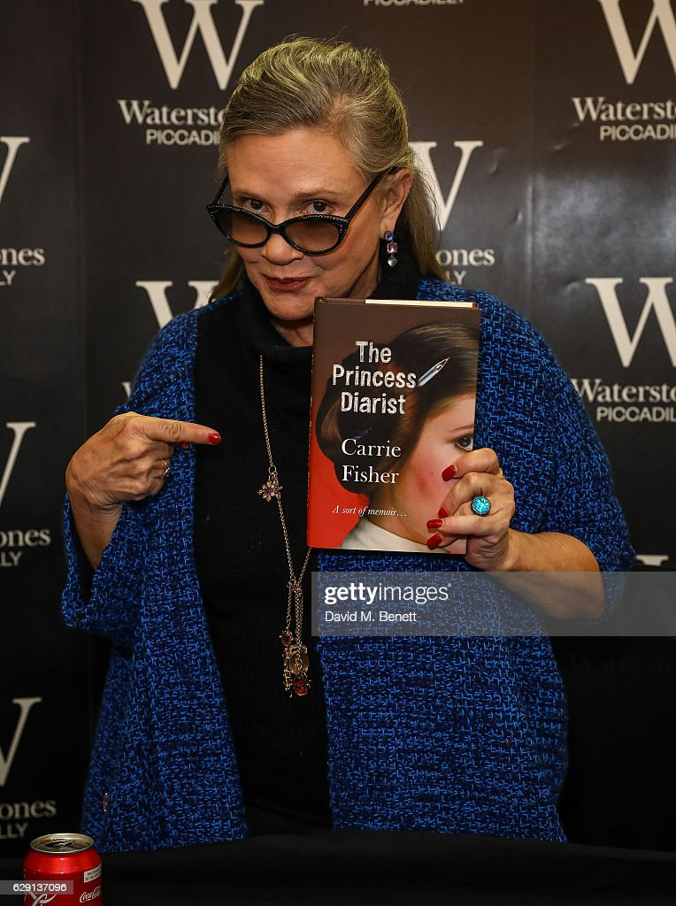 "Carrie Fisher Signs Copies Of Her New Book ""The Princess Diarist"" At Waterstones Piccadilly"