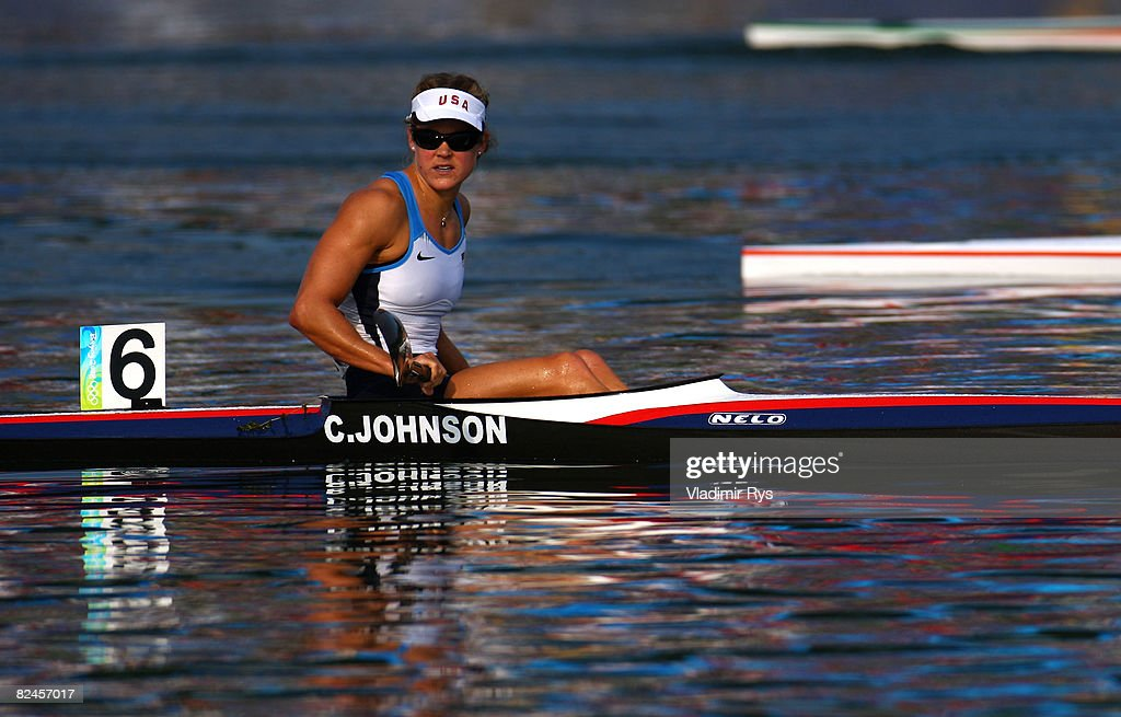 Carrie Johnson of the United States competes in her heat of the Flatwater Women's K1 500m event at the Shunyi Olympic Rowing-Canoeing Park on Day 11 of the Beijing 2008 Olympic Games on August 19, 2008 in Beijing, China.