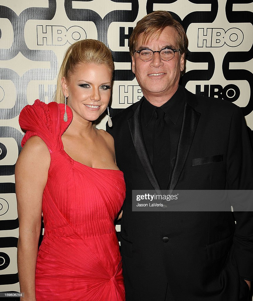 Carrie Keagan and Aaron Sorkin attend the HBO after party at the 70th annual Golden Globe Awards at Circa 55 restaurant at the Beverly Hilton Hotel on January 13, 2013 in Los Angeles, California.