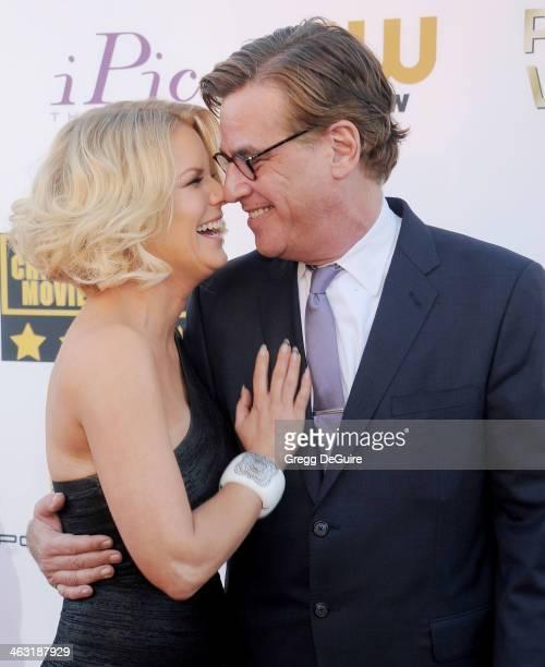 Carrie Keagan and writer Aaron Sorkin arrive at the 19th Annual Critics' Choice Movie Awards at Barker Hangar on January 16 2014 in Santa Monica...