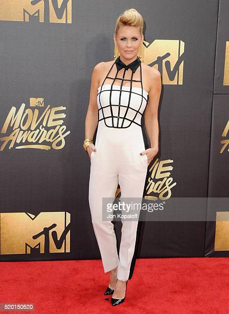 Carrie Keagan arrives at the 2016 MTV Movie Awards at Warner Bros Studios on April 9 2016 in Burbank California