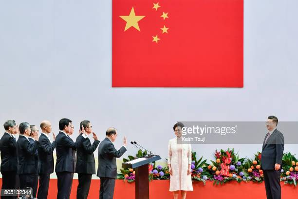 Carrie Lam Cheng YuetNgor Hong Kong's new Chief Executive and her new cabinet are sworn in by Chinese President Xi Jinping during an inauguration...