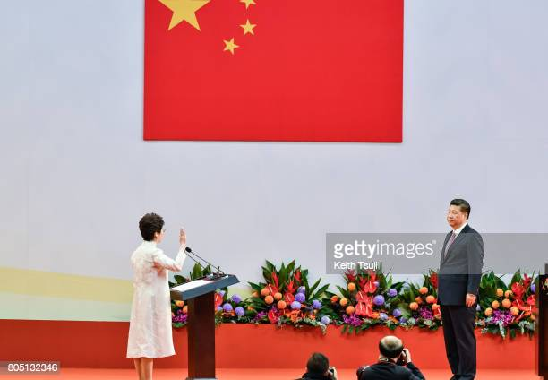 Carrie Lam Cheng YuetNgor Hong Kong's new Chief Executive is sworn in by Chinese President Xi Jinping during an inauguration ceremony in Hong Kong...
