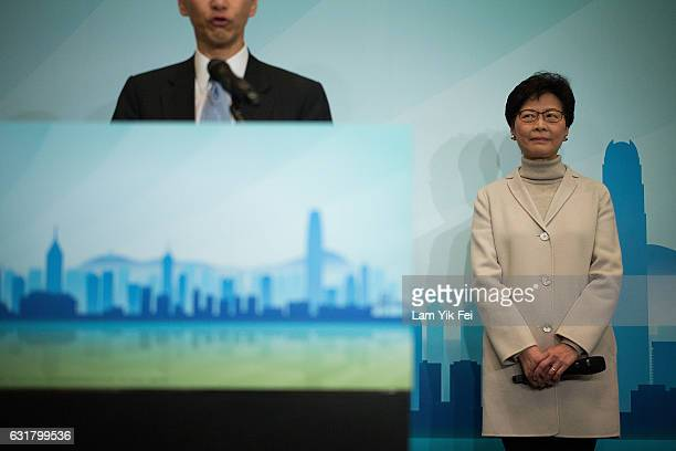 Carrie Lam former chief Secretary for Administration in the HKSAR Government attends a press conference on January 16 2017 in Hong Kong The former...