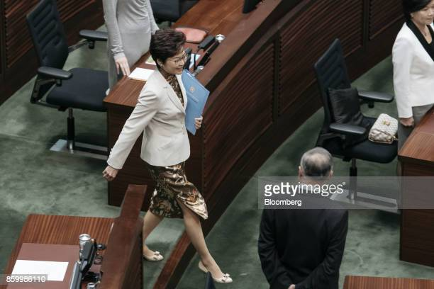 Carrie Lam Hong Kong's chief executive arrives for a policy address in the chamber of the Legislative Council in Hong Kong China on Wednesday Oct 11...