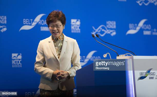Carrie Lam Hong Kong's chief executive leaves the stage after speaking during the Belt and Road Summit in Hong Kong China on Monday Sept 11 2017 Hong...