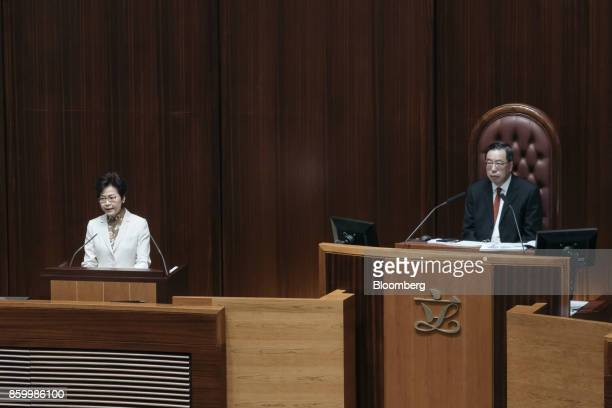 Carrie Lam Hong Kong's chief executive left speaks as Andrew Leung president of the Legislative Council looks on during a policy address in the...
