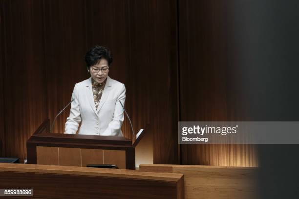 Carrie Lam Hong Kong's chief executive speaks during a policy address in the chamber of the Legislative Council in Hong Kong China on Wednesday Oct...