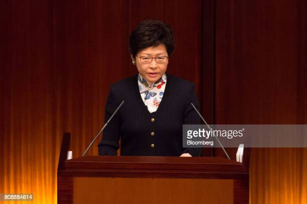 Carrie Lam Hong Kong's chief executive speaks during a questionandanswer session in the chamber of the Legislative Council in Hong Kong China on...
