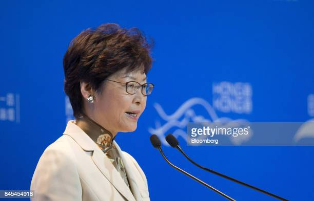 Carrie Lam Hong Kong's chief executive speaks during the Belt and Road Summit in Hong Kong China on Monday Sept 11 2017 Hong Kong is to explore more...