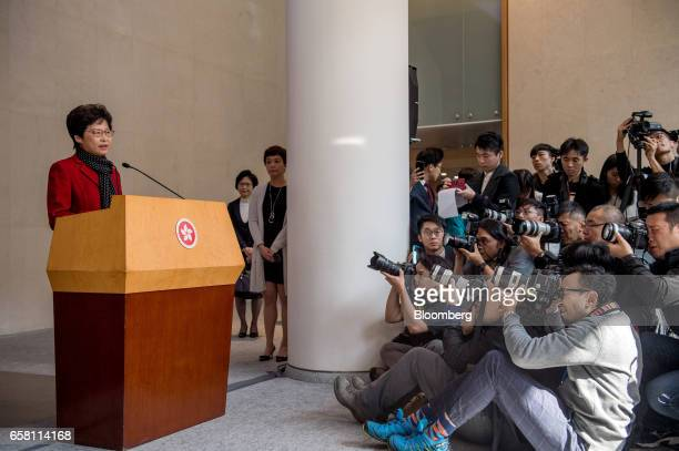 Carrie Lam Hong Kong's chief executiveelect speaks during a news conference in Hong Kong China on Monday March 27 2017 Behindthescenes backing from...