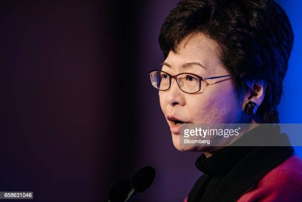Carrie Lam Hong Kong's chief executiveelect speaks during the Credit Suisse Asian Investment Conference in Hong Kong China on Tuesday March 28 2017...
