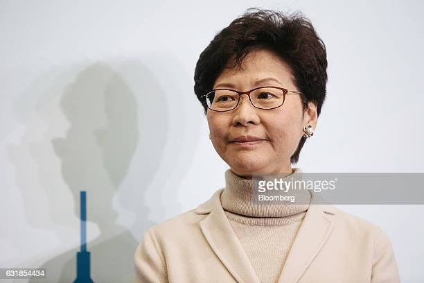 Carrie Lam Hong Kong's former chief secretary attends a news conference in Hong Kong China on Monday Jan 16 2017 Lam announced her candidacy for...