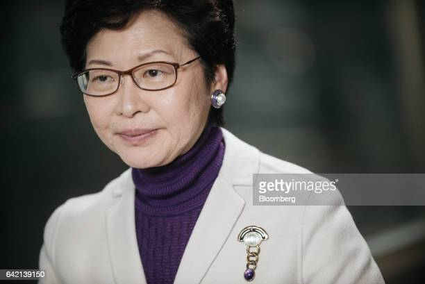 Carrie Lam Hong Kong's former chief secretary pauses during an interview in Hong Kong China on Thursday Feb 16 2017 Lam widely seen as the...