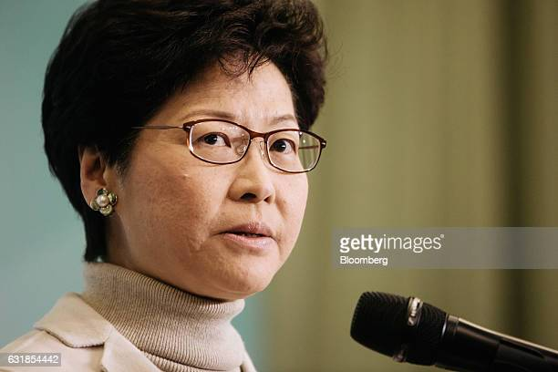 Carrie Lam Hong Kong's former chief secretary speaks during a news conference in Hong Kong China on Monday Jan 16 2017 Lam announced her candidacy...