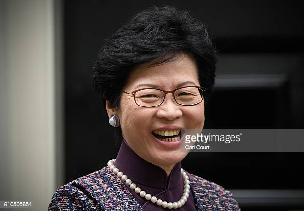 Carrie Lam the Chief Secretary for the Administration of Hong Kong Government arrives to meet Chancellor of the Exchequer Philip Hammond at 11...