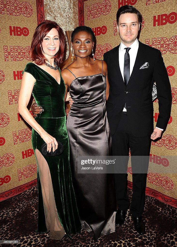 Carrie Preston, Adina Porter and Michael McMillian attend HBO's Golden Globe Awards after party at Circa 55 Restaurant on January 12, 2014 in Los Angeles, California.