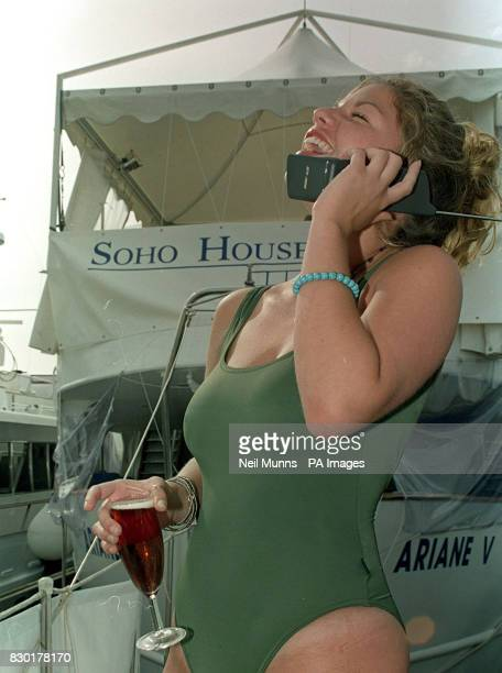 Carrie Snitcer getting in the party mood on the Soho House boat the Ariane V prior to the beginning of the Cannes Film Festival
