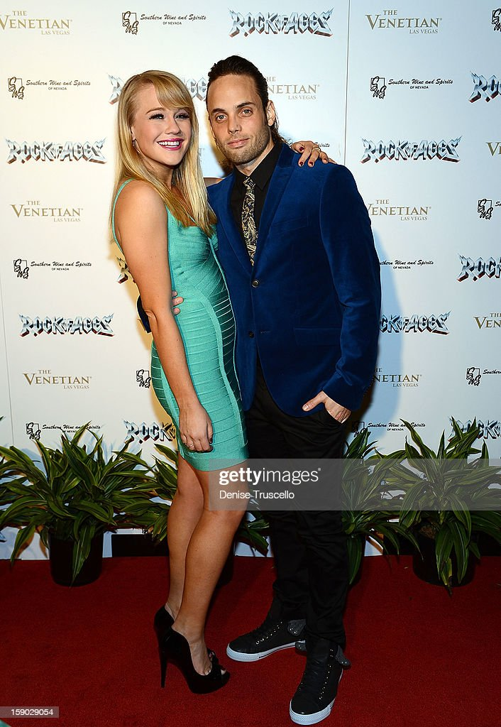 Carrie St. Louis and Justin Mortelliti arrive at the Rock Of Ages opening after party at The Venetian on January 5, 2013 in Las Vegas, Nevada.