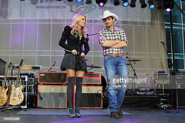 Carrie Underwood and Brad Paisley perform on ABC's 'Good Morning America' to celebrate the 43rd Annual CMA Awards at the Sommet Center on November 10...