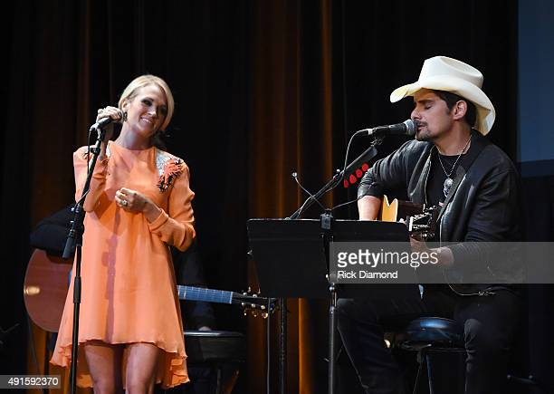 Carrie Underwood and Brad Paisley perform onstage at The Country Music Hall Of Fame Museum All For The Hall New York Benefit Concert at PlayStation...