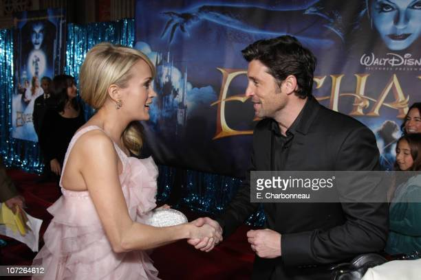 Carrie Underwood and Patrick Dempsey at the World Premiere of Walt Disney Pictures' 'ENCHANTED' at the El Capitan Theatre on November 17 2007 in...