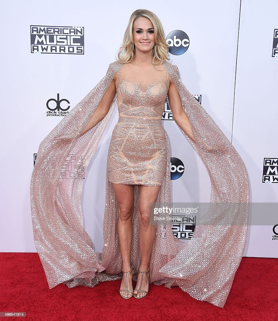 Carrie Underwood arrives at the 2015 American Music Awards at Microsoft Theater on November 22, 2015 in Los Angeles, California.