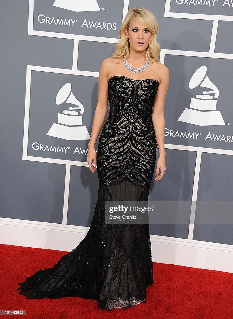 Carrie Underwood arrives at the The 55th Annual GRAMMY Awards on February 10, 2013 in Los Angeles, California.