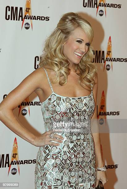 Carrie Underwood attends the 43rd Annual CMA Awards at the Sommet Center on November 11 2009 in Nashville Tennessee