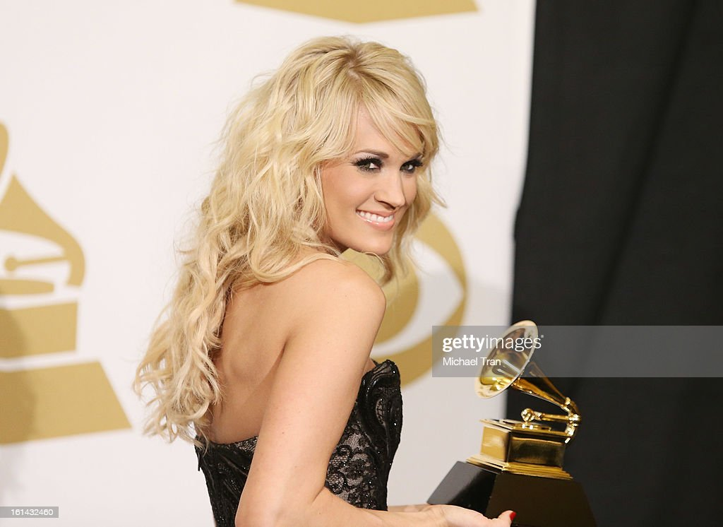 <a gi-track='captionPersonalityLinkClicked' href=/galleries/search?phrase=Carrie+Underwood&family=editorial&specificpeople=204483 ng-click='$event.stopPropagation()'>Carrie Underwood</a> attends The 55th Annual GRAMMY Awards - press room held at Staples Center on February 10, 2013 in Los Angeles, California.