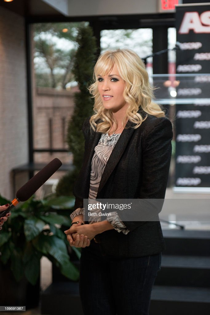 <a gi-track='captionPersonalityLinkClicked' href=/galleries/search?phrase=Carrie+Underwood&family=editorial&specificpeople=204483 ng-click='$event.stopPropagation()'>Carrie Underwood</a> attends the Blown Away #1 Party at ASCAP Building on January 16, 2013 in Nashville, Tennessee.
