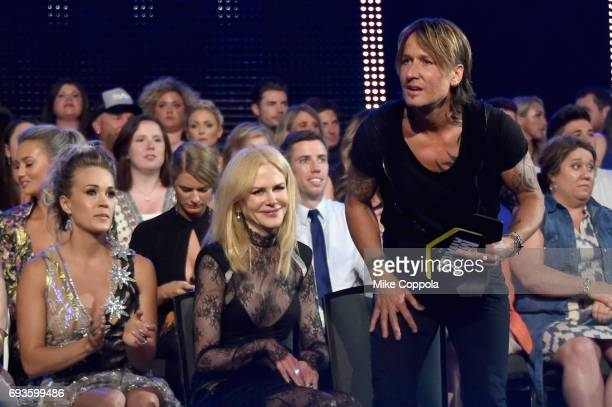 Carrie Underwood Nicole Kidman and Keith Urban attend the 2017 CMT Music Awards at the Music City Center on June 6 2017 in Nashville Tennessee