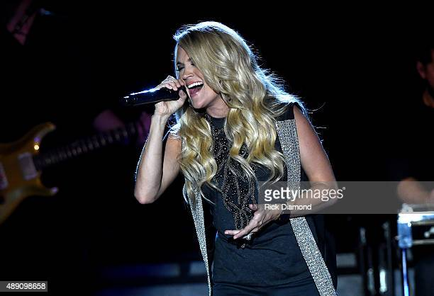 Carrie Underwood performs a surprise popup concert as part of CMT Instant Jam on September 18 2015 in Atlanta GA The concert premieres October 17 at...