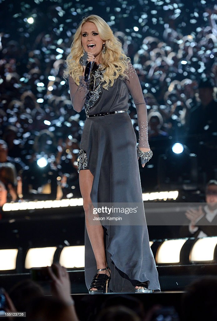 <a gi-track='captionPersonalityLinkClicked' href=/galleries/search?phrase=Carrie+Underwood&family=editorial&specificpeople=204483 ng-click='$event.stopPropagation()'>Carrie Underwood</a> performs during the 46th annual CMA Awards at the Bridgestone Arena on November 1, 2012 in Nashville, Tennessee.