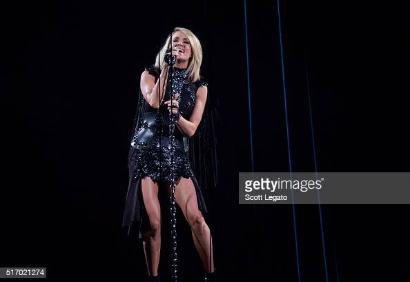 Carrie Underwood performs during The Storyteller Tour 2016 at The Palace of Auburn Hills on March 22 2016 in Auburn Hills Michigan