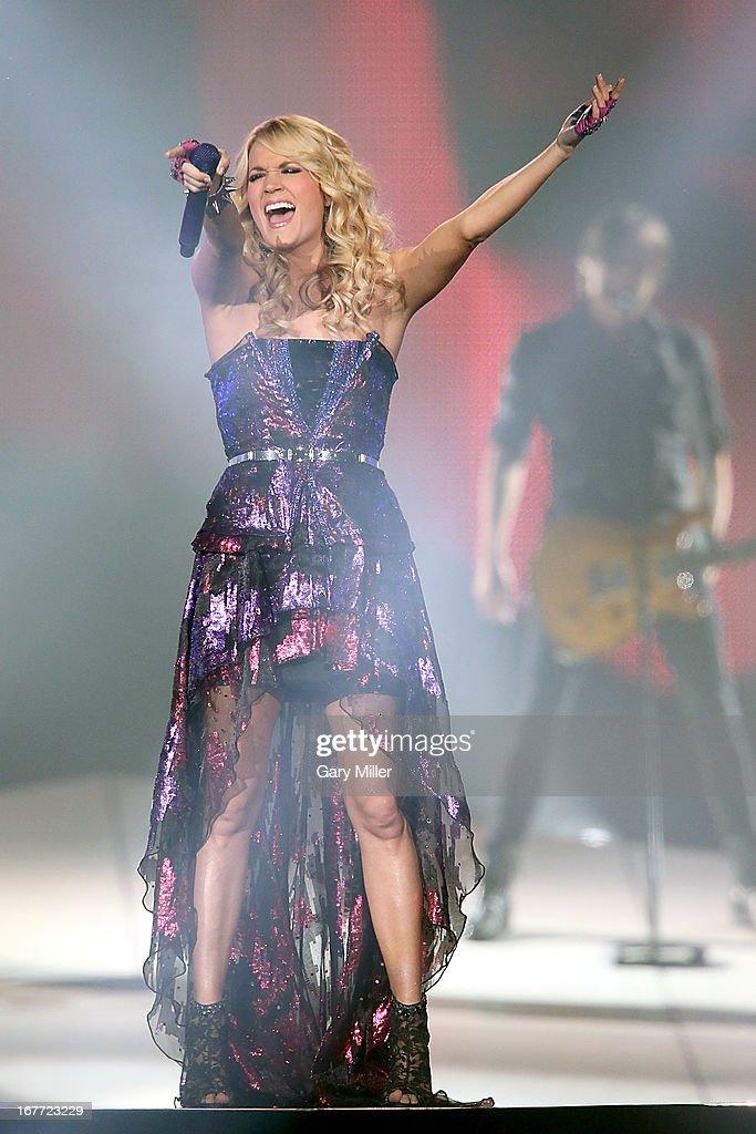 Carrie Underwood performs in concert at the Cedar Park Center on April 27 2013 in Cedar Park Texas