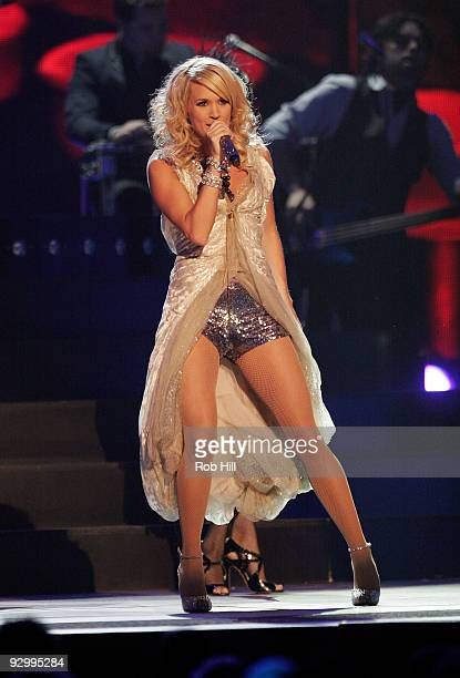 Carrie Underwood performs onstage at the 43rd Annual CMA Awards at the Sommet Center on November 11 2009 in Nashville Tennessee