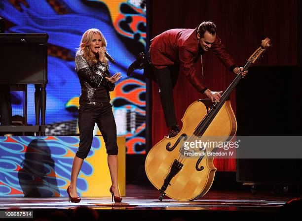 Carrie Underwood performs onstage at the 44th Annual CMA Awards at the Bridgestone Arena on November 10 2010 in Nashville Tennessee