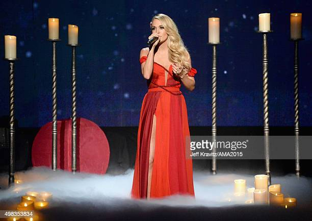 Carrie Underwood performs onstage during the 2015 American Music Awards at Microsoft Theater on November 22 2015 in Los Angeles California